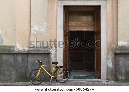 Yellow bike - stock photo