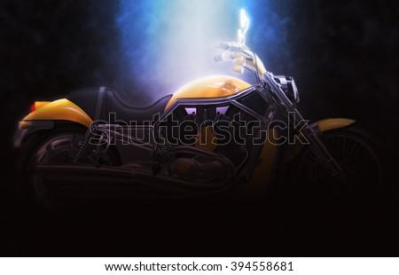 Yellow bike - dark soft lighting - stock photo