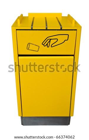 Yellow bin on white background. - stock photo