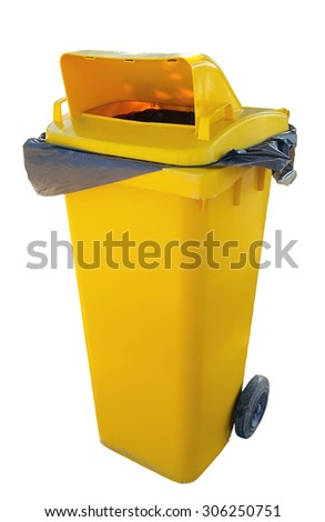 yellow bin with clipping path - stock photo