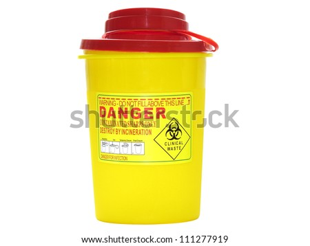 Yellow biohazard medical contaminated  sharps clinical waste container isolated on white background - stock photo