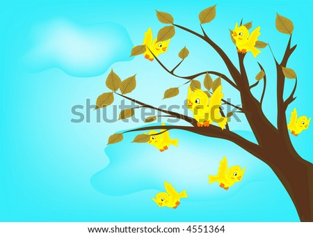 yellow birds on tree illustration