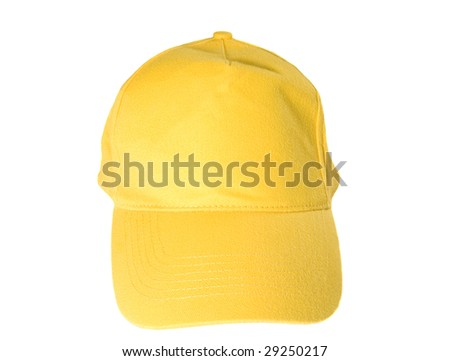 Yellow Blank Baseball Cap on white ground - stock photo