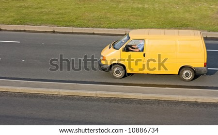 "yellow blank delivery van  - See similar images of this ""Business vehicles"" series in my portfolio - stock photo"