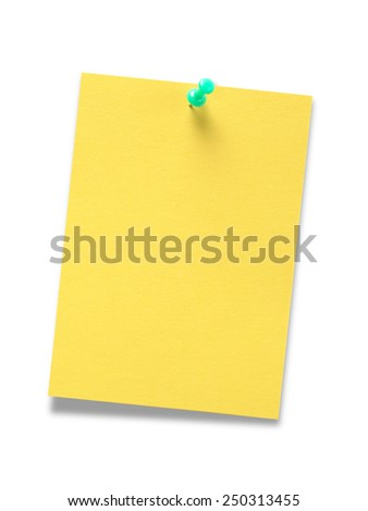 Yellow blank paper for message on white background