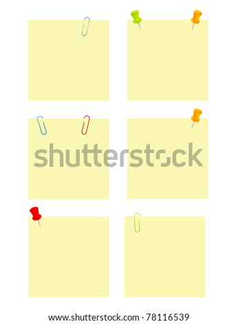 yellow blank papers with papers clips and pushpin over white background