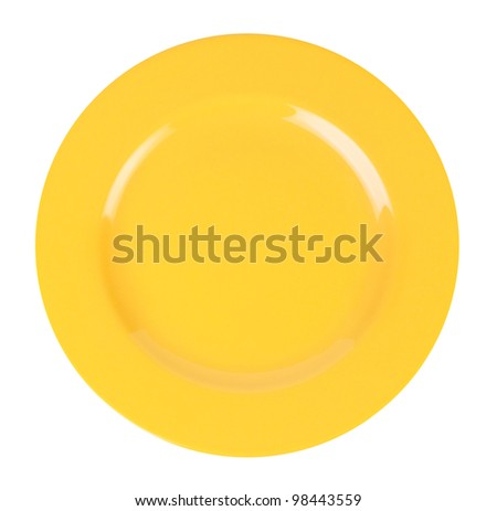 Yellow blank plate isolated on white background. - stock photo