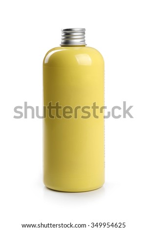 yellow blank shampoo container isolated on white - stock photo