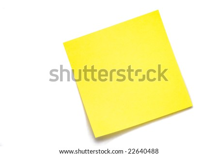 yellow blank sticky note isolated on white - stock photo