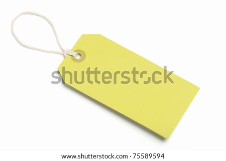 Yellow Blank Tag, Isolated On White - stock photo