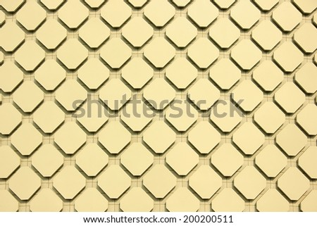 Yellow blocks decoration on wall texture background. - stock photo