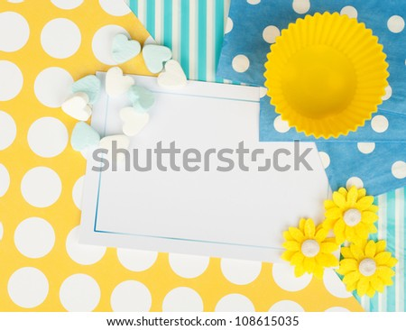 yellow blue abstract card design background - stock photo