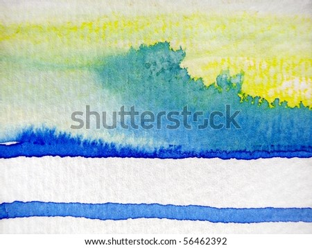 Yellow Blue and White Watercolor 1 - stock photo