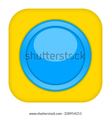 Yellow blue button isolated on white background - stock photo