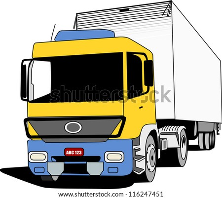 Yellow blue cabin truck used to transport cargo.