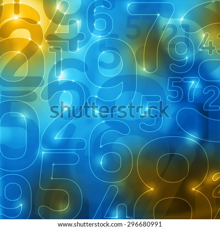 yellow blue glowing numbers abstract encryption background - stock photo