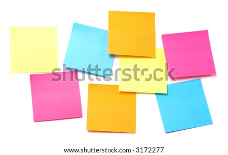 Yellow, blue, orange and pink sticky notes - ready for copy