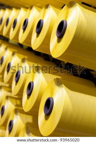 Yellow bobbins set - stock photo