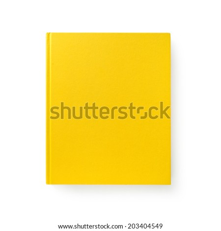 Yellow book. Closed book is laying on white. #1