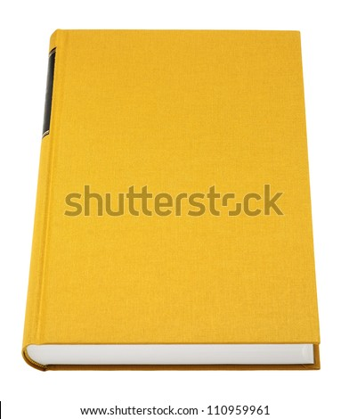 Yellow book isolated on white, black frame for title on the spine, fabric cover - stock photo