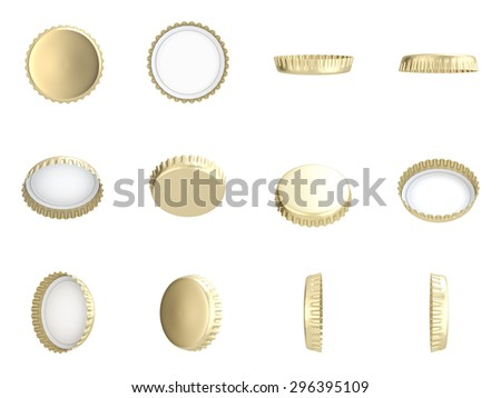 Yellow Bottle Caps , Different angles , Isolated on white , 3d render - stock photo