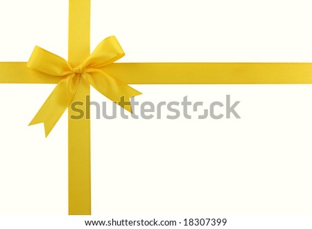 Yellow bow isolated on white background