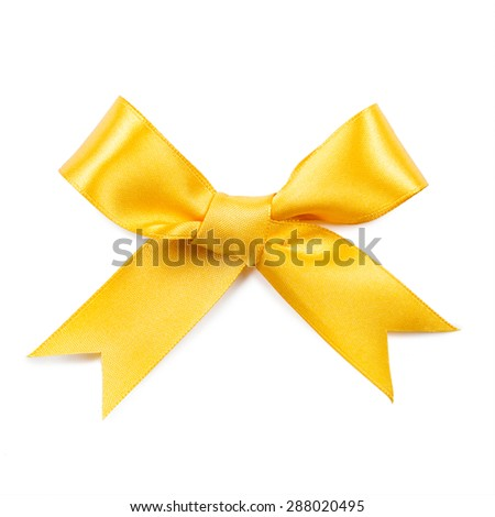 Yellow bow isolated on white background.