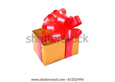 Yellow box with a red ribbon on isolated white background