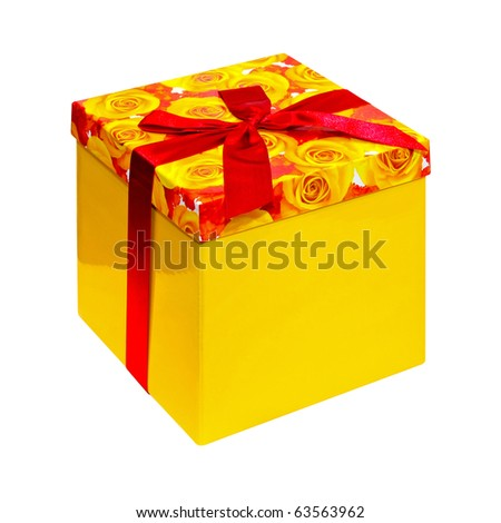 Yellow box with ribbon isolated included clipping path