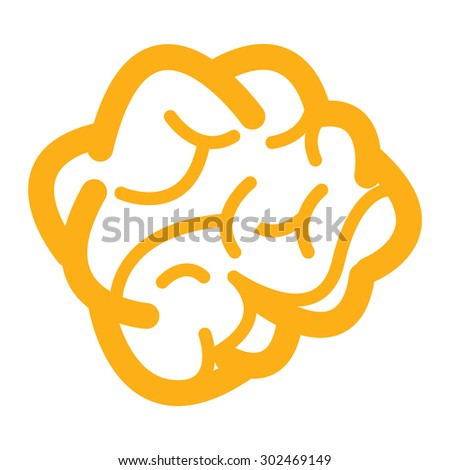 Yellow Brain Infographics Flat Icon, Sign Isolated on White Background