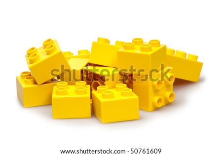 yellow bricks isolated on white - stock photo