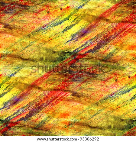yellow bright with a watercolor brush strokes seamless background texture - stock photo