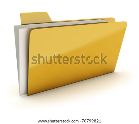 Yellow brilliant folder with documents. 3d image. Isolated white background. - stock photo