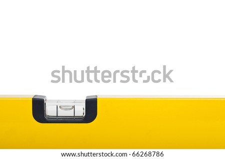 Yellow bubble level isolated over white - stock photo