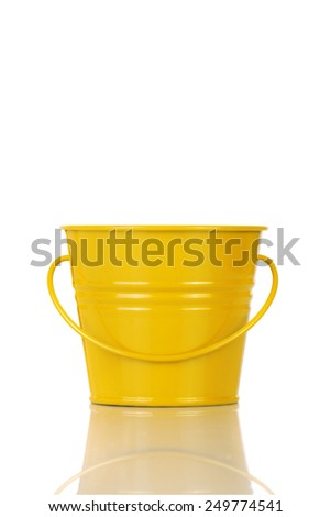 Yellow bucket isolated on white background.