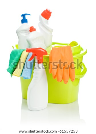 yellow bucket with cleaning supplies