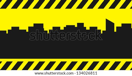 yellow building background with city and construction symbol - place for text - stock photo