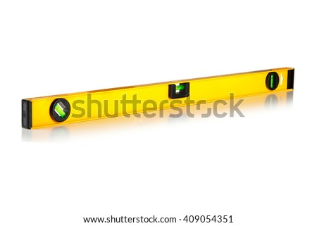 Yellow building level isolated on white background - stock photo