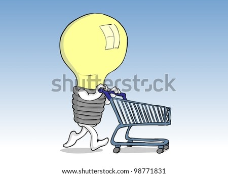 Yellow bulb man pushing a cart purchase - stock photo