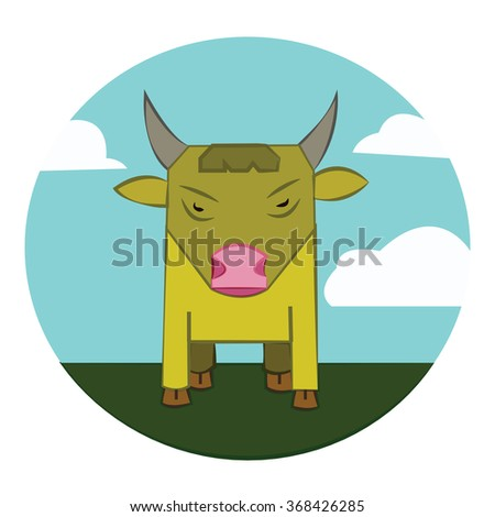 Yellow Bull with Horns standing in the green field. Sky with clouds summer landscape. Farm animal in the countryside. Round Icon. Digital raster illustration. - stock photo