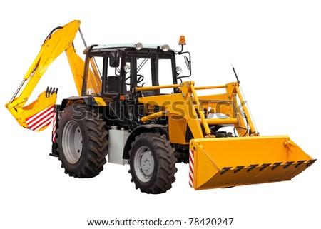 Yellow bulldozer-excavator on white background - stock photo