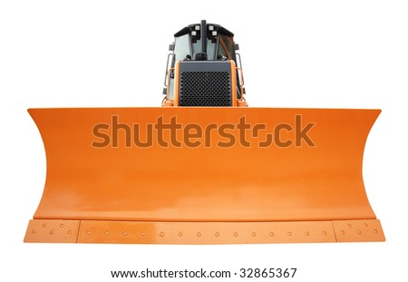 Yellow bulldozer isolated over a white background