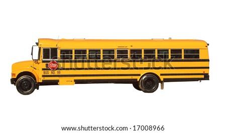 Yellow bus isolated on white - stock photo