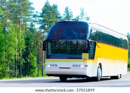 yellow bus on a forest road - stock photo