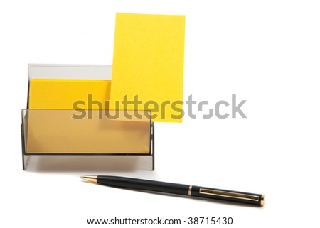 Yellow business card with empty space for text. Isolated on white background - stock photo