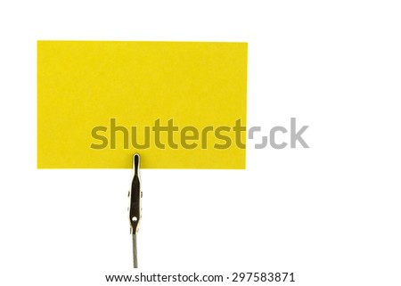 Yellow business card with holder on wihite background