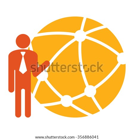 Yellow Businessman With Worldwide, Business Connection, Social Network, Global Communication Infographics Flat Icon, Sign Isolated on White Background  - stock photo