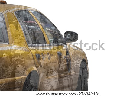 Yellow cab speeds through Times Square in New York, NY, USA. . Double exposure over white background. - stock photo