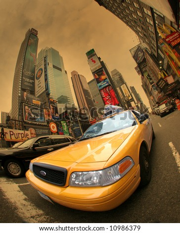 Yellow cab (taxi) - Manhattan,Times Square,New York City - stock photo