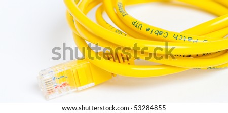 Yellow cable for computer network - stock photo